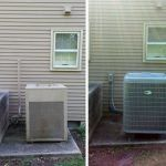 Before and after installation of Carrier Heat Pump Outdoor Unit
