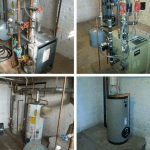 Before and after installation of Weil McLain heating and domestic hot water system