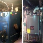 Before and after installation of Lochinvar High Efficiency Combi Gas Fired Boiler