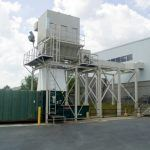 The dust collector from a different area of the property to immediately behind the production